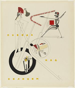 Russian Futurism - El Lissitzky's poster for a post-revolutionary production of the drama Victory Over the Sun. The multilingual caption reads: All is well that begins well and has not ended.