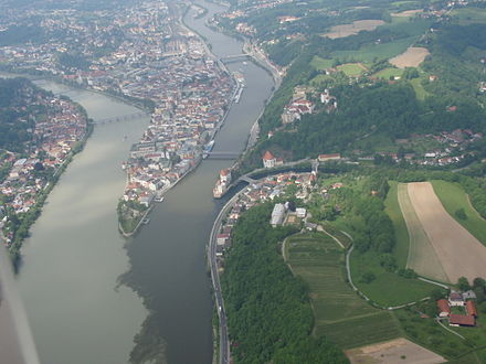 The triple confluence in Passau; from left to right, the Inn, the Danube, and the Ilz. Passau aerial view 1.jpg