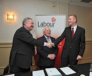 History of the Labour Party (Ireland) - Politicians Pat Rabbitte, Michael D Higgins and Derek Nolan of the Irish Labour Party in 2010