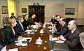 Paul Wolfowitz hosts a meeting with a Georgian delegation include Zurab Zhvania, Gela Bezhuashvili and Levan Mikeladze (April 28, 2004).jpg