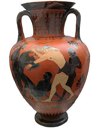 Greek wrestling - Peleus and Atalanta wrestling (Painter of Munich name vase, Attic black-figure amphora, 500–490 BC)