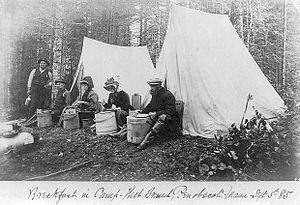 Penobscot, Maine - Breakfast in camp, Penobscot, September 1885.