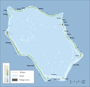 Penrhyn (atoll) - Map of Penrhyn Atoll