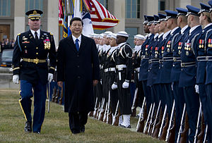 United States Air Force Honor Guard - The United States Air Force Honor Guard is reviewed by Chinese Vice President Xi Jinping, during a Joint Services arrival ceremony at the Pentagon, 14 Feb. 2012.