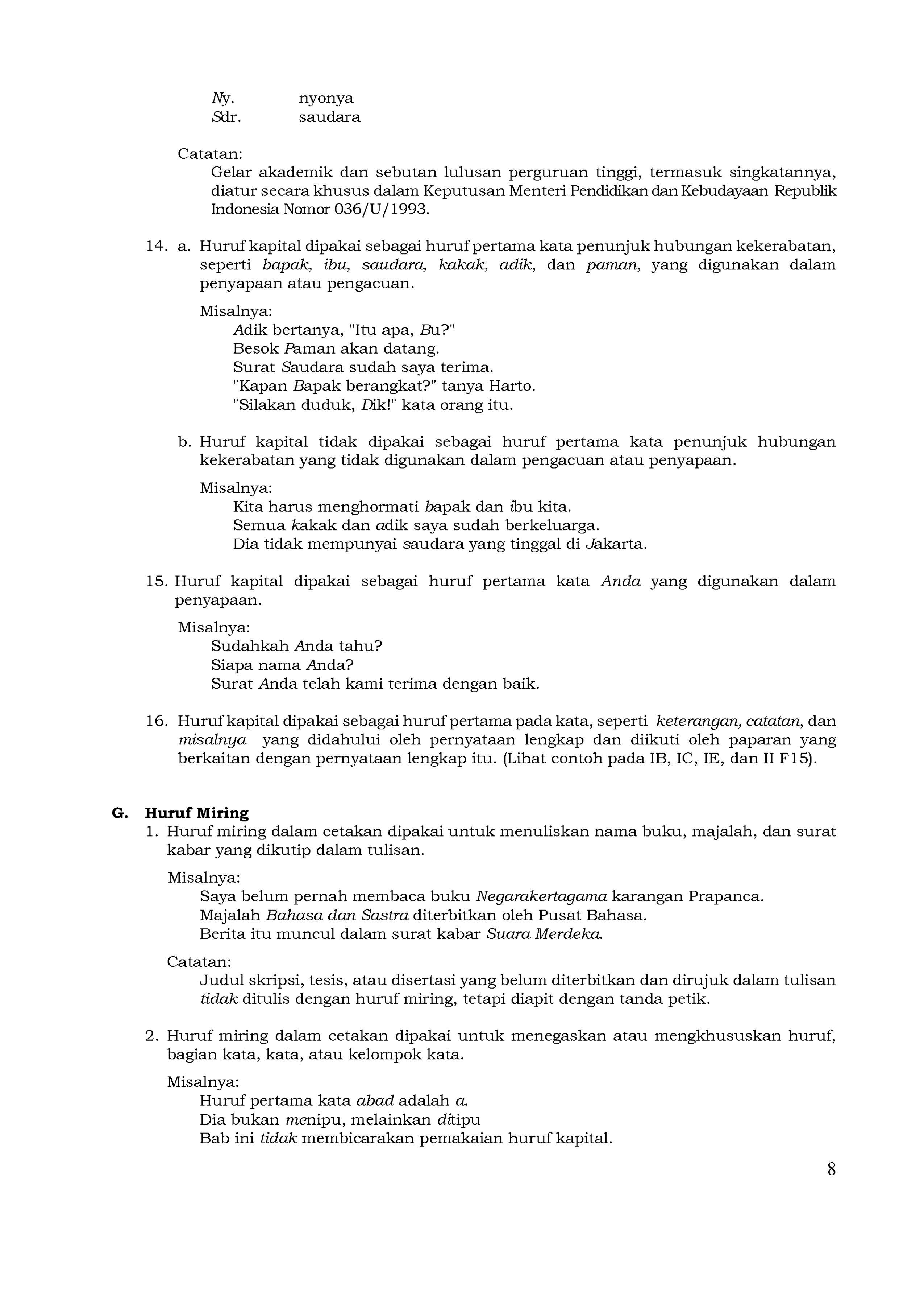 Halaman Permendiknas Nomor 46 Tahun 2009 Tentang Pedoman Umum Ejaan