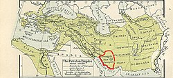 The Persian Empire, about 500 BC; Persis is the central southern province with the red outline. Its main cities are Persepolis and Pasargadae.