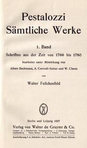 Titelblatt des ersten Bands der kritischen Pestalozzi-Ausgabe, 1927 (Quelle: Wikimedia)