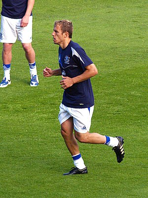 Phil Neville - Neville warming up for Everton
