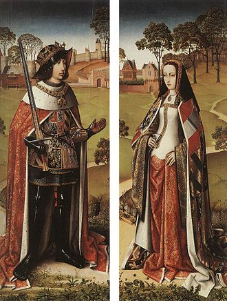 Master of Affligem - Philip the Handsome and Joanna the Mad, of Castle, c. 1500: details from the wings of the Last Judgement Triptych of Zierikzee, by the Master of Affligem  (Royal Museums of Fine Arts of Belgium)