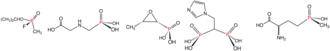 Organophosphorus compound - Illustrative examples of phosphonates and phosphinates in the order shown: Sarin (phosphonate), Glyphosate (phosphonate), fosfomycin (phosphonate), zoledronic acid (phosphonate), and Glufosinate (phosphinate).  In aqueous solution, phosphonic acids ionize to give the corresponding organophosphonates.