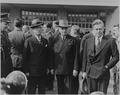 Photograph of President Harry S. Truman, James F. Byrnes and Henry A. Wallace, taken during the funeral ceremony for... - NARA - 199072.tif