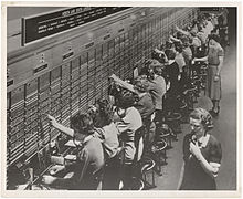 Old fashioned telephone exchange worker 95
