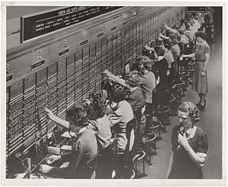 Telephone switchboard - A large Bell System international switchboard in 1943
