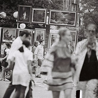 Old Town, Chicago - People and art at the Old Town Art Fair in the 1960s