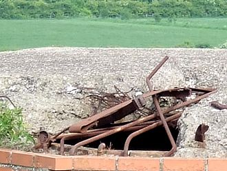 British hardened field defences of World War II - Pillbox at Gotham, Nottinghamshire, close-up. Scrap metal was used in construction.