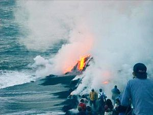 Piton de la Fournaise - The erupting lava met the water of the Indian Ocean during the August 2004 eruption.