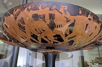 Penthesilea Painter - Image: Pittore di pentesilea, kylix a figure rosse con apoteosi di teseo, e altri a duello, 460 450 ac. 04