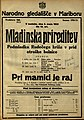 Plakat za Mladinska prireditev Podmladka Rudečega križa v prid otroške bolnice Pri mamici je raj v Narodnem gledališču v Mariboru 3. maja 1925.jpg