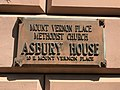 Plaque, Asbury House (c. 1855; Niernsee & Neilson, architects), Mount Vernon Place United Methodist Church, 10 E. Mount Vernon Place, Baltimore, MD 21202 (41238305455).jpg