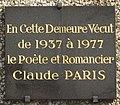 Plaque Claude Paris, 5 rue Fernand-Widal, Paris 13.jpg