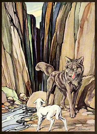 Fables and Parables - Lamb and wolf, illus. by Bransom, ca. 1921