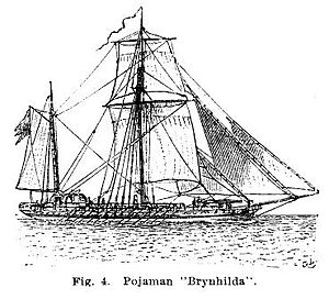 Pojama - Line drawing of the Brynhilda, one of the three pojamas built for the Swedish navy