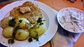 Pork, potatoes and polish cucumber salad Mizeria.jpg