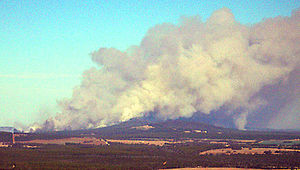 Porongurup National Park - View of fire from Mount Barker - after approximately three hours burning