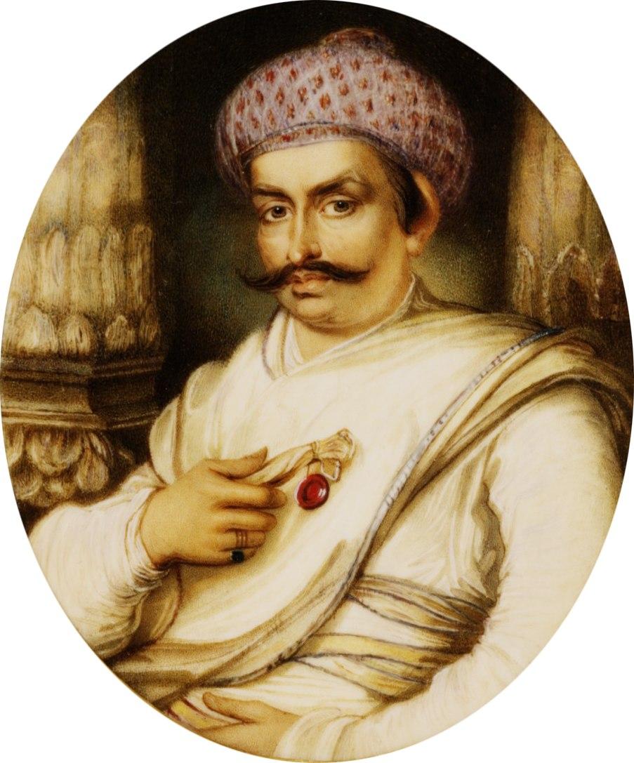 Portrait of Hyder Beg Khan, the Minister to the Nawab of A Wadh, Asaf-Au-Daula crop