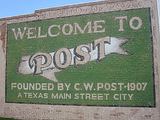 Post, Texas - Image: Post, TX, welcome sign IMG 4620