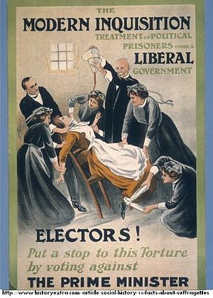 "Suffragette - Poster by ""A Patriot"", showing a suffragette prisoner being force-fed, 1910."
