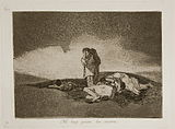 On a lonely hillside, three women lie dead while a lone figure weeps in mournful grief.