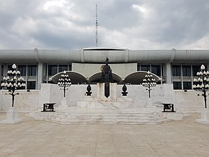 Thai Parliament Museum - King Rama VII statue at Parliament House of Thailand, behind which the museum is