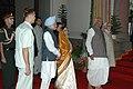 Pratibha Patil, the Vice President Shri Hamid Ansari and the Prime Minister, Dr. Manmohan Singh received by the Lok Sabha Speaker.jpg