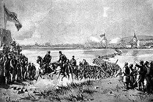 Austro-Hungarian campaign in Bosnia and Herzegovina in 1878 - Infantry Regiment No. 17 crossing the Sava by Karl Pippich (1905)