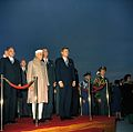 President John F. Kennedy and Prime Minister of India Jawaharlal Nehru at Arrival Ceremonies (color).jpg