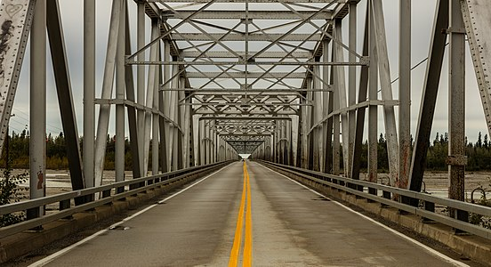Through truss bridge over Gerstle river, Delta Junction, Alaska, United States.