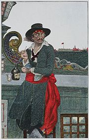 Howard Pyle's fanciful painting of Kidd and his ship, the Adventure Galley, in New York Harbor.