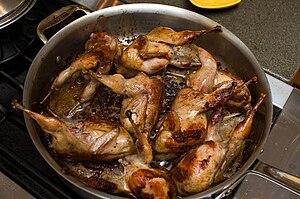 Quails as food - Quails browning