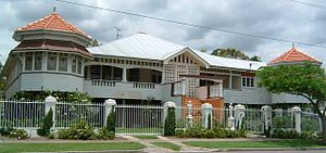 Queenslander (architecture) - A large Federation style suburban Queenslander in New Farm, Brisbane.