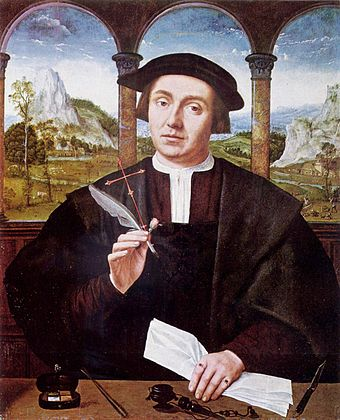 16th-century painting of a civil law notary, by Flemish painter Quentin Massys. A civil law notary is roughly analogous to a common law solicitor, except that, unlike solicitors, civil law notaries do not practice litigation to any degree. Quentin Massys - Portrait of a Man - National Gallery of Scotland.jpg