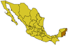 Map of Mexico, shaded area indicating the state of Quintana Roo