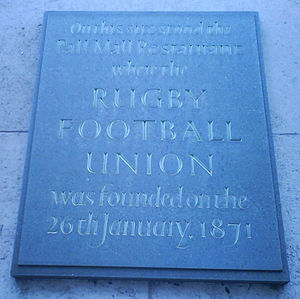 Rugby Football Union - Plaque marking the foundation location of the RFU