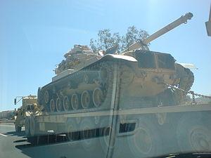 Saudi Arabian Army - A Saudi M60A3 tank being transferred