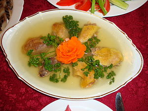 Chicken feet - Moldovan chicken racitura. In this serving, chicken legs were removed after boiling.