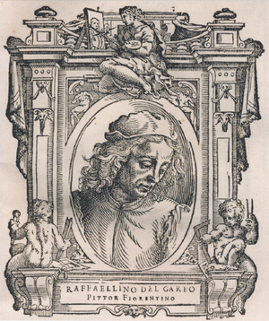 Raffaellino del Garbo - Cristoforo Coriolano's portrait of Raffaellino del Garbo, from the 1568 edition of Vasari's Vite.