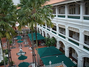 An interior shot of the Raffles Hotel, Singapore