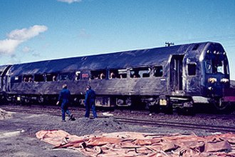 NZR RM class (Silver Fern) - The wrecked railcar after it was towed to Tangiwai from the wreck site.