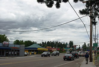 Raleigh Hills, Oregon - Commercial area along Beaverton-Hillsdale Highway looking west