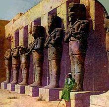 Osirid statues of Ramses III at his temple at Medinet Habu.